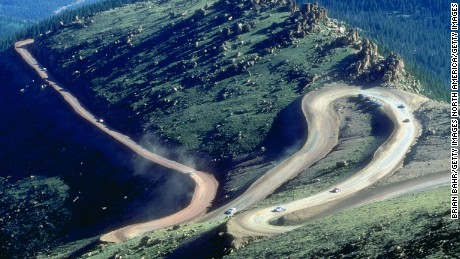 General view of the action during the Pikes Peak International Hill Climb at Pikes Peak Highway in Colorado Springs, Colorado.