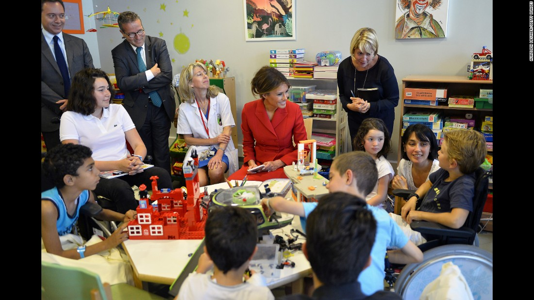 Melania Trump visits with children at Paris' Necker Hospital on July 13.