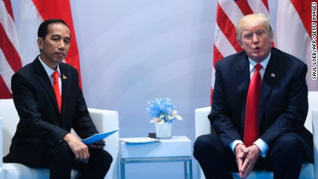 US President Donald Trump (R) and Indonesia's President Joko Widodo hold a meeting on the sidelines of the G20 Summit in Hamburg, Germany, July 8.