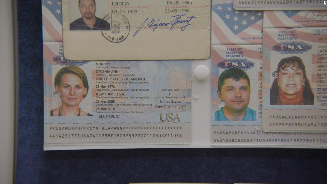 The Guryevs -- along with the other spies who were arrested -- held various official documents such as these passports that backed up their fake identities, the FBI said.
