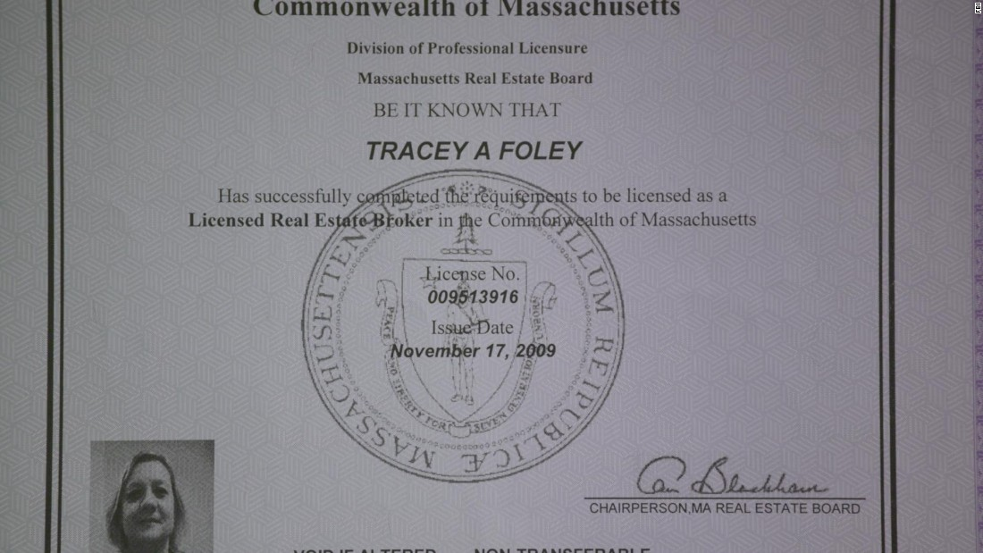Foley had this Massachusetts real estate broker's license, a photo of which CNN obtained from the FBI. The FBI said Heathfield and Foley created their fake identities by using birth certificates of deceased infants and then posing as those deceased people -- building identities around the documents.