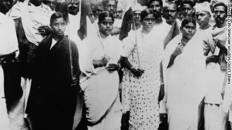 Indian women protest for their country's independence in Madras, south India, on November 6, 1945.