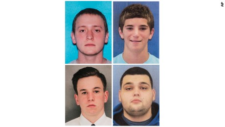 This combination of undated photos provided by the Bucks County District Attorney's Office shows four men who went missing last week: Tom Meo, top left; Jimi Tar Patrick, bottom left; Dean Finocchiaro, top right; and Mark Sturgis, bottom right. Cosmo DiNardo, a 20-year-old linked to a Pennsylvania farm at the center of a search for the four missing men, was arrested Wednesday, July 12, 2017, on charges he tried to sell one man's car after he went missing, authorities said in announcing the first big break in the case. (Bucks County District Attorney's Office via AP)