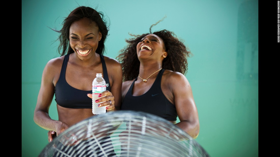 The sisters participate in a photo shoot together in 2012. Off the court, Williams has a fashion degree and her own line of active wear, EleVen.