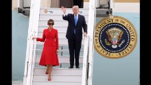 US President Donald Trump and his wife, Melania, arrive at Paris' Orly Airport on Thursday, July 13. They were invited by French President Emmanuel Macron to attend the country's Bastille Day celebrations.