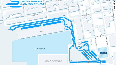 The layout of the track for the New York ePrix in Red Hook, Brooklyn.