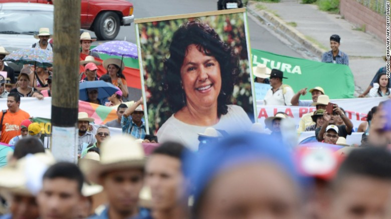 Hundreds of indigenous Hondurans protest the murder of  environementalist Berta Cáceres at a march in Tegucigalpa in August 2017.
