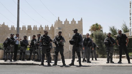 Israeli security forces stand guard in Jerusalem's Old City following Friday's attack.