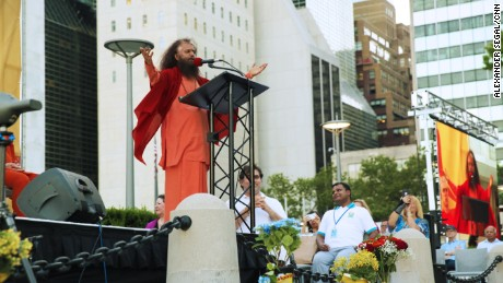 Swami Chidanand Saraswatiji traveled from the mountains of the Himalayas to the skyscrapers of Manhattan to help lead the festivities.
