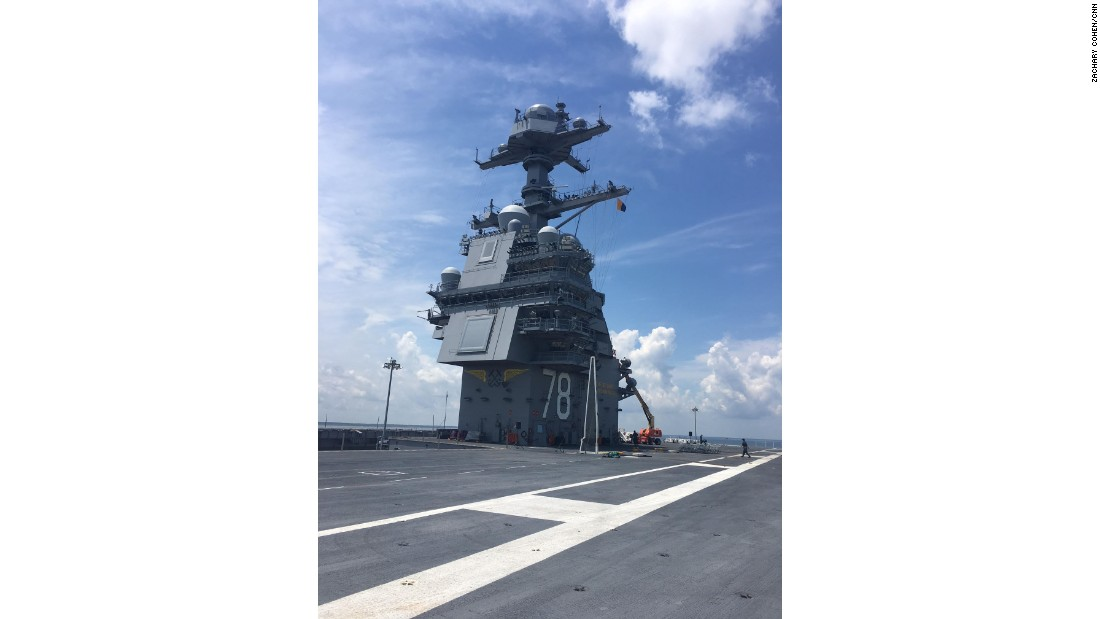 A view from the flight deck of the USS Gerald Ford.