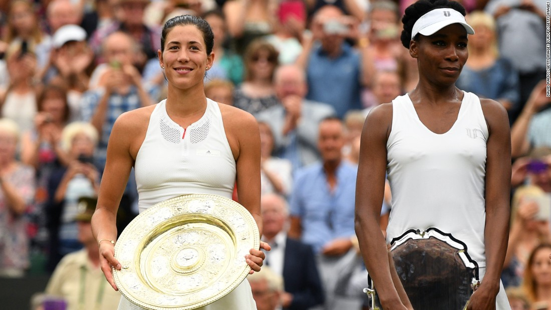 Garbine Muguruza, left, celebrates her Wimbledon victory after beating Venus Williams 7-5, 6-0 in the final on Saturday, July 15. This was the second Grand Slam final of the season for Williams, who was beaten by her sister, Serena, in the Australian Open final in January.