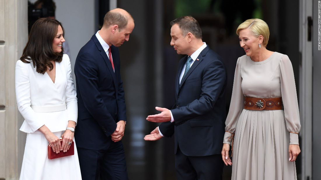 Duda and his wife greet the Duke and Duchess of Cambridge at the Presidential Palace in Warsaw on the first day of the royal visit to Poland.