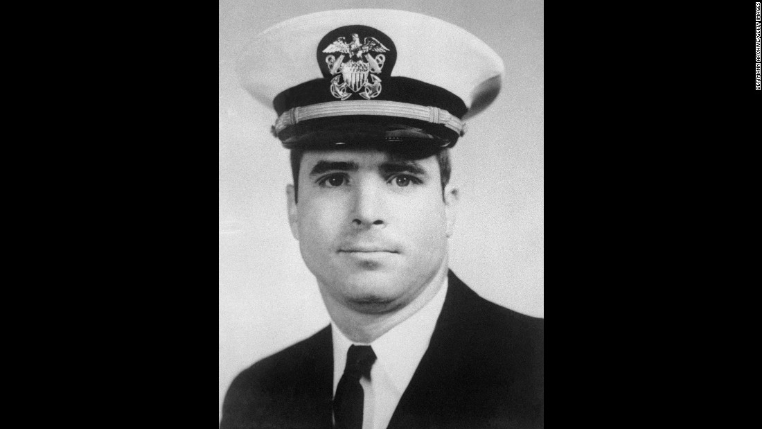 The North Vietnamese, in 1967, claimed to have shot down and captured McCain, shown in this file photo. The son of McCain Jr., then commander of American Naval Forces in Europe, the younger McCain was said to have been aboard a two-man F-4 Phantom fighter that was shot down by a surface-to-air missile over Hanoi.