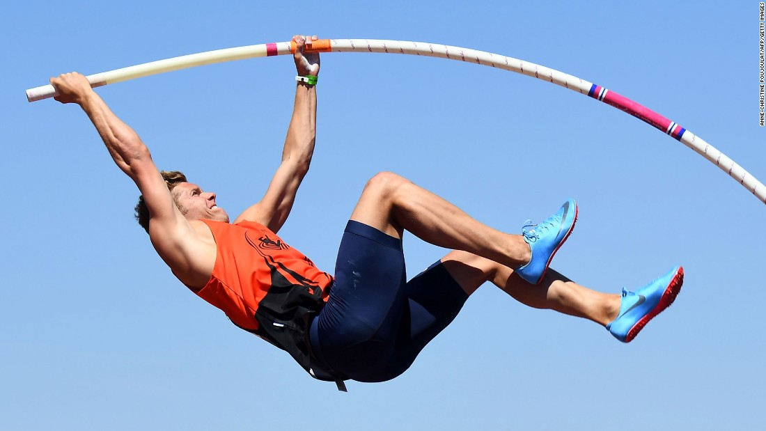 French athlete Kevin Mayer competes in the pole vault at the Athletics French Championships Elite in Marseille on Saturday, July 15.