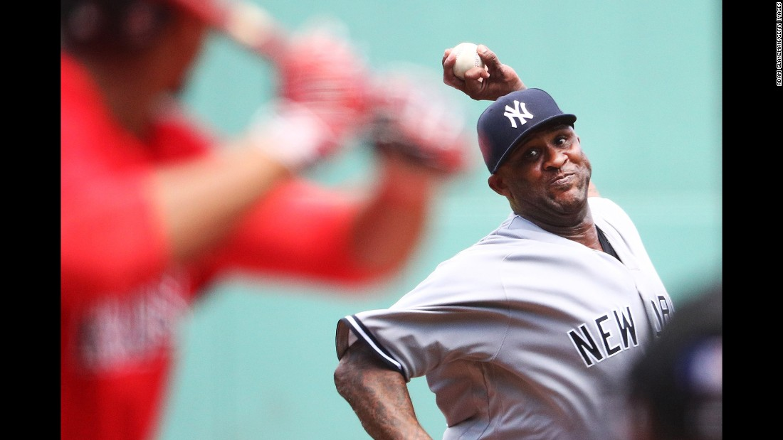 CC Sabathia of the New York Yankees pitches during the first inning of a game against the Boston Red Sox at Fenway Park in Boston on Sunday, July 16.
