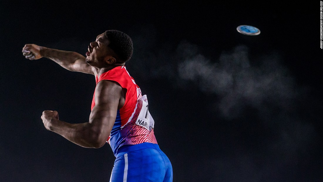 Anyel E. Alvarez of Cuba competes in the boys discus throw final during the IAAF U18 World Championships on Saturday, July 15, in Nairobi, Kenya.