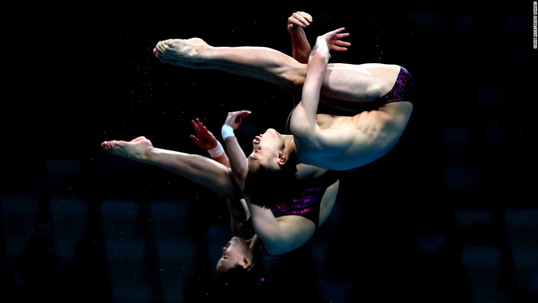 Qian Ren and Junjie Lian of China compete during the Mixed Diving 10m Synchro Platform Final at the Budapest 2017 FINA World Championships on Saturday, July 15.