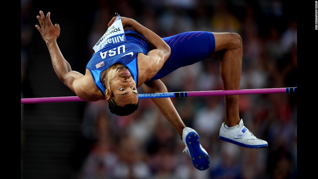 Roderick Townsend-Roberts of the United States competes in the Men's High Jump T47 Final during the IPC World ParaAthletics Championships 2017 at the London Stadium on Sunday, July 16.