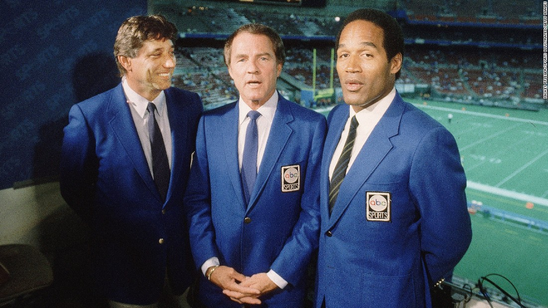 "Simpson becomes a commentator on ABC's ""Monday Night Football"" in the mid-'80s. He appears with Joe Namath, left, and Frank Gifford."