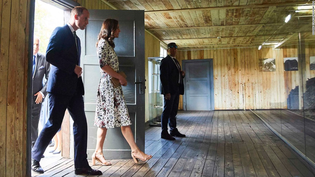William and Kate view a display at the Stutthof Nazi concentration camp site in the village of Sztutowo, Poland.
