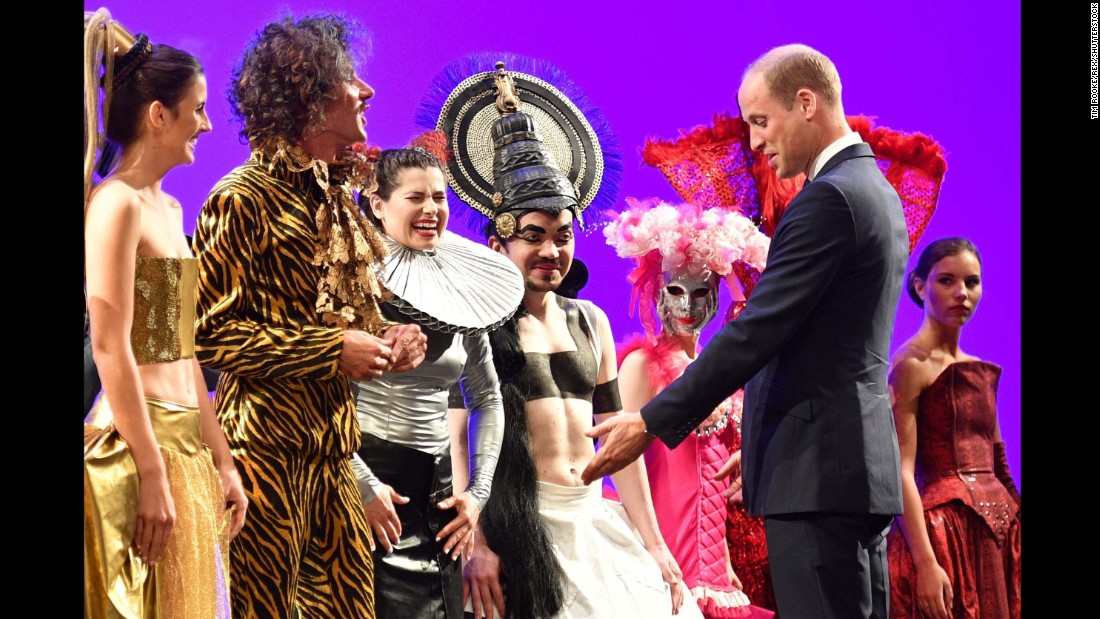 Prince William visits with performers from Gdansk Shakespeare Theatre, of which he is a patron, on July 18, in Gdansk, Poland.