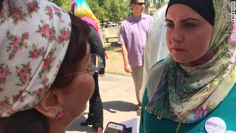 Deedra Abboud, right, campaigns for next year's Democratic primary for the US Senate from Arizona.