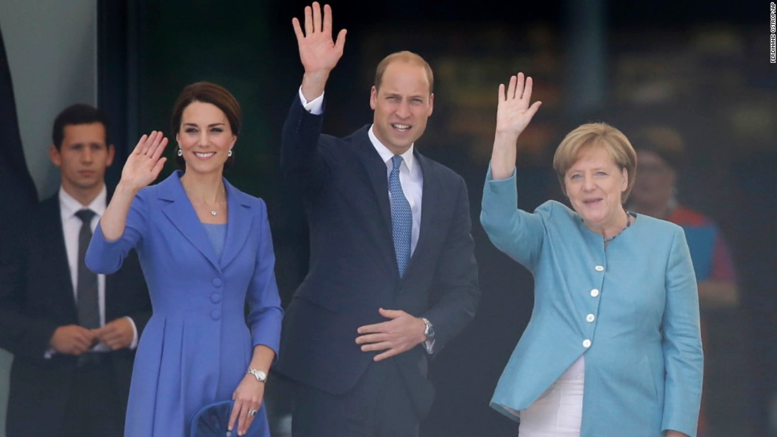 Kate, William and Merkel greet well-wishers shortly after the royal couple's arrival in Berlin.