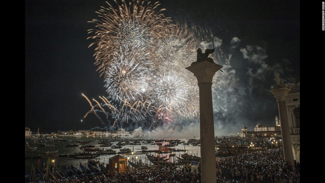 <strong>Venice, Italy: </strong>Fireworks explode over St Mark's Basin during celebrations to mark Redentore, an annual July thanksgiving in remembrance of the end of Venice's bubonic plague epidemic of 1575 to 1577.