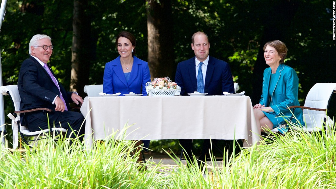 William and Kate meet with German President Frank-Walter Steinmeier and his wife, Elke Büdenbender, at Bellevue Castle on July 19 in Berlin.