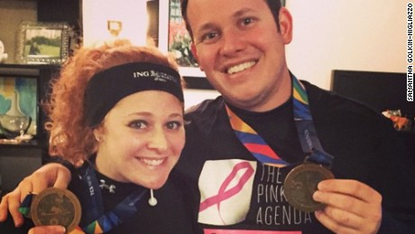 Samantha Golkin-Nigliazzo and her husband ran the New York City marathon in 2014 to raise money for breast cancer research.