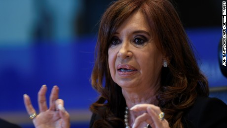 "Former Argentinian president Cristina Fernandez de Kirchner gives a press conference on the theme ""Capitalism, Neoliberalism Democratic crisis. The Experience of South America"" with Eurodeputy of the Confederal Group of the European United Left at the EU Parliament in Brussels, on May 10, 2017.  / AFP PHOTO / JOHN THYS        (Photo credit should read JOHN THYS/AFP/Getty Images)"