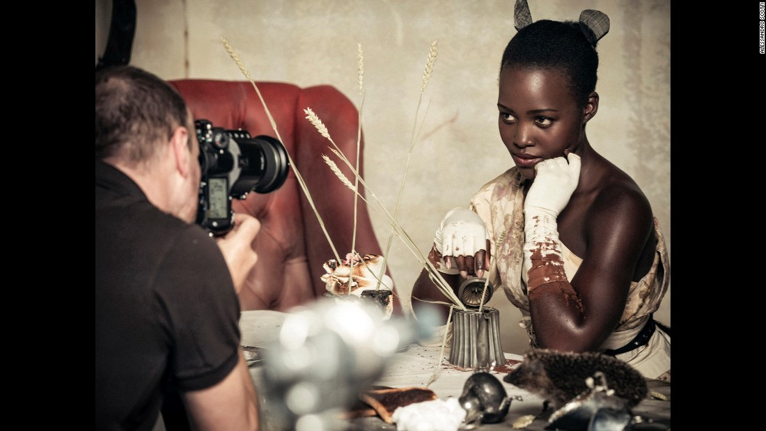 Oscar-winning actress Lupita Nyong'o poses as Dormouse.