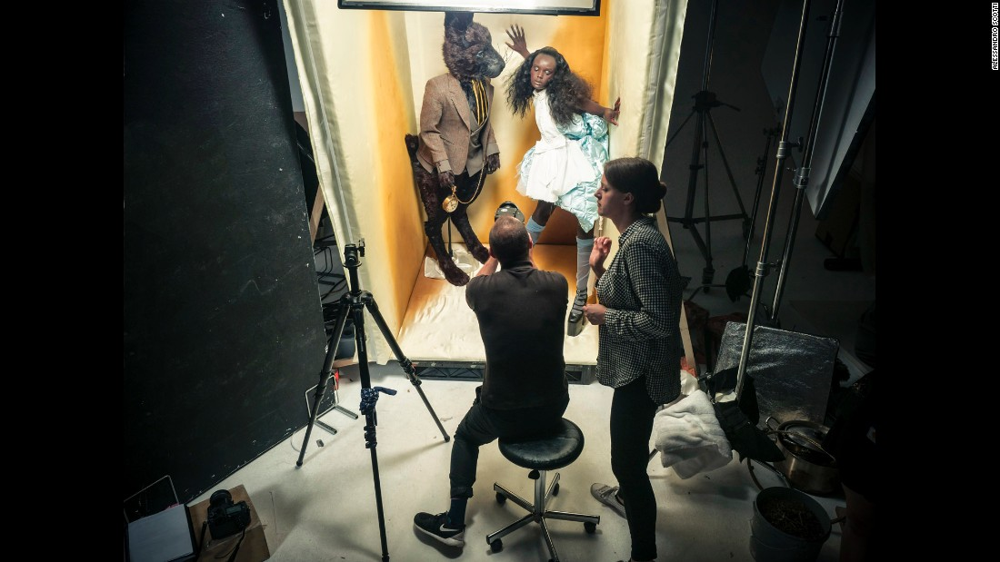Setting up a shot with the Mad March Hare and Alice portrayed by Sasha Lane and Duckie Thot.