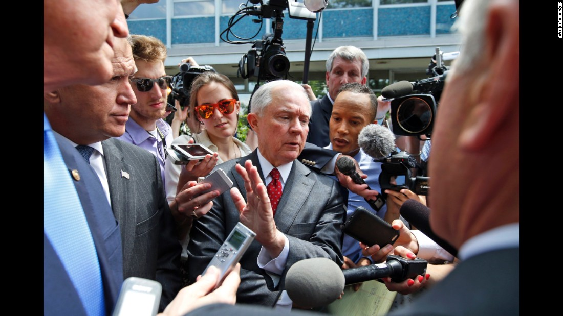 In July 2016, Sessions talks with reporters after a meeting with then-presidential candidate Trump and the Senate Republican Conference at the National Republican Senatorial Committee headquarters in Washington. Sessions was one of several Republicans being talked about as Trump's vice presidential running mate.