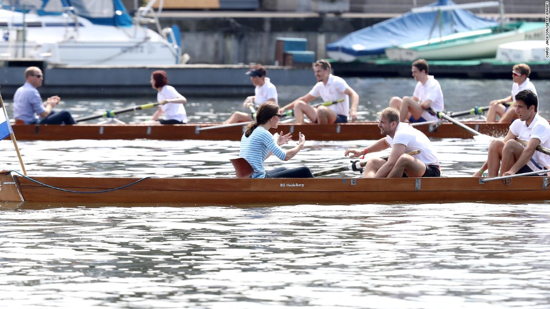 William and Kate participate in a friendly rowing race on July 20, in Heidelberg.