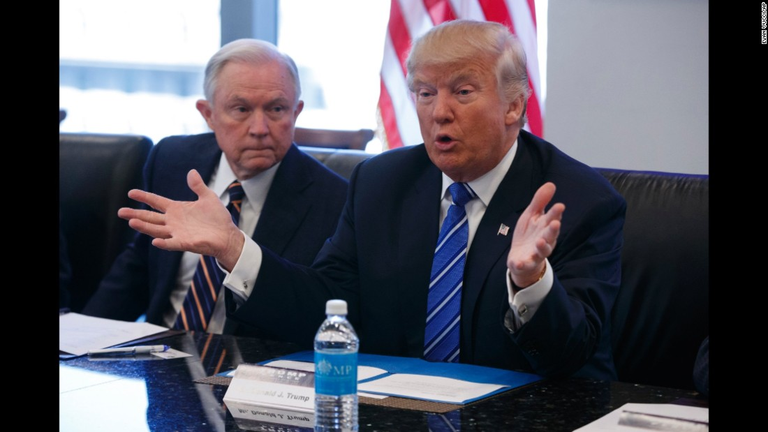 Sessions listens in October 2016 as then-candidate Trump speaks during a national security meeting with advisers at Trump Tower in New York. Sessions was one of Trump's closest and most consistent allies.