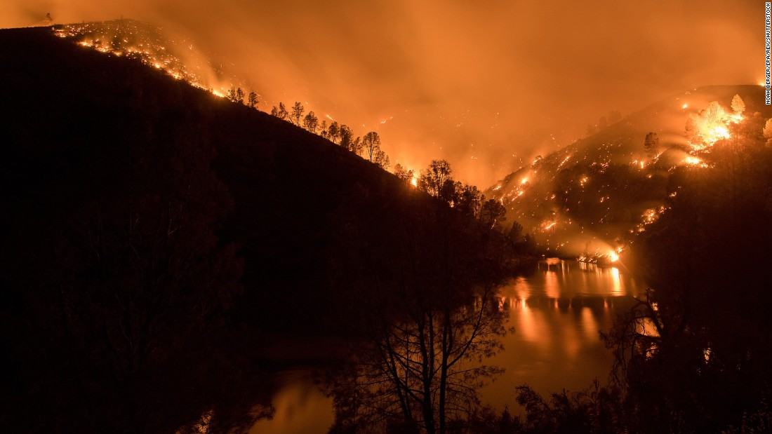 "The Detwiler Fire burns near Bear Valley, California, on Monday, July 17. The <a href=""http://www.cnn.com/2017/07/19/us/california-mariposa-county-detwiler-fire-yosemite/index.html"" target=""_blank"">Detwiler Fire</a>, which started Sunday near Lake McClure, has burned more than 45,000 acres and was 7% contained Wednesday morning, the California Department of Forestry and Fire Protection said."