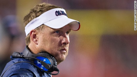 Head Coach Hugh Freeze of the Mississippi Rebels on the sidelines during a game against the Arkansas Razorbacks at Razorback Stadium on October 15, 2016 in Fayetteville, Arkansas.