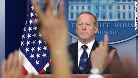 WASHINGTON, DC - JUNE 12:  White House Press Secretary Sean Spicer conducts a White House daily briefing at the James Brady Press Briefing Room of the White House June 12, 2017 in Washington, DC.  White House Press Secretary Sean Spicer held his daily briefing and answered questions surrounding U.S. Attorney General Jeff Session's role in the Russian interference in the 2016 presidential election.  (Photo by Alex Wong/Getty Images)