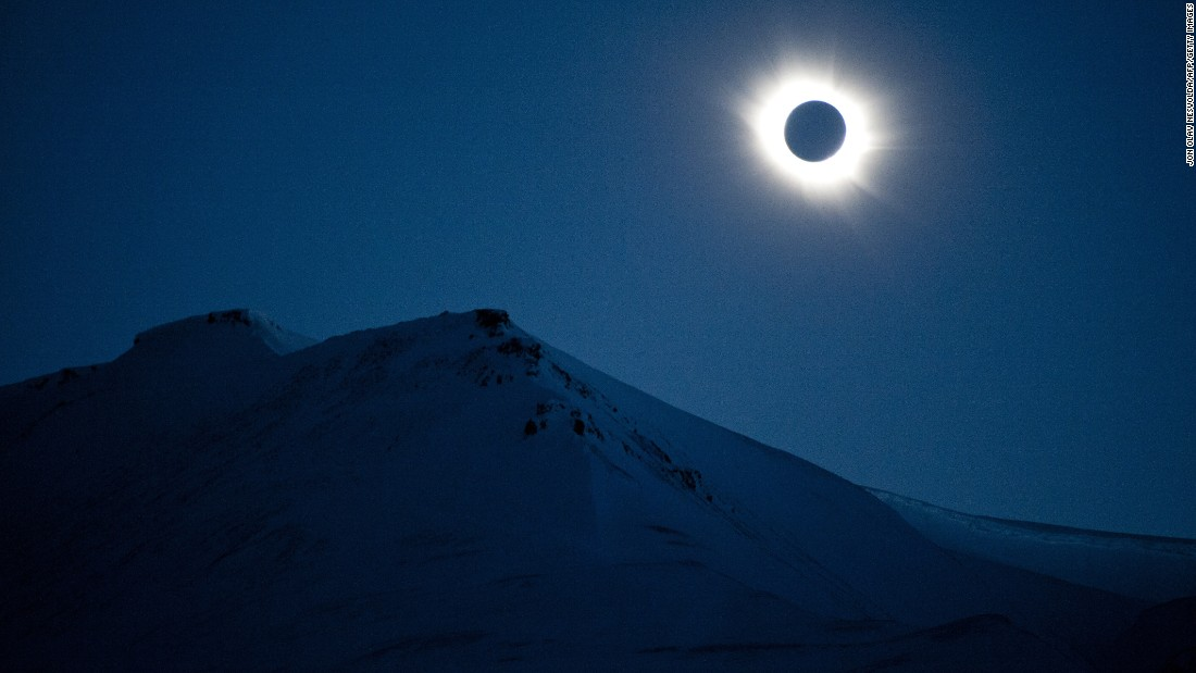A total solar eclipse can be seen in Svalbard, Longyearbyen, Norway, on March 20, 2015. A partial eclipse of varying degrees was visible across most of Europe, northern Africa, northwest Asia and the Middle East, before finishing its show close to the North Pole.
