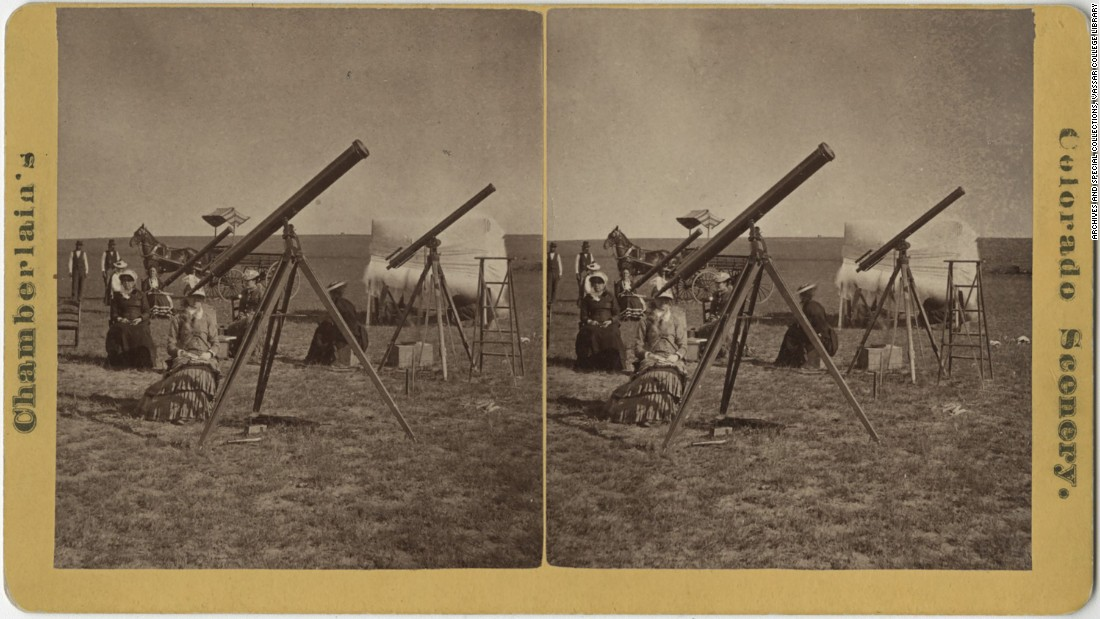 "Astronomers Maria Mitchell, left, Cora Harrison, center, and Maria's sister Phebe traveled to Denver to watch the total solar eclipse of 1878. Their telescopes are pointing toward the center of the solar system. The ""eclipse party"" from Vassar College was featured in newspapers, and Maria Mitchell was highly regarded in her day as a pioneering female scientist."