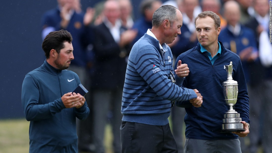Spieth beat fellow American Matt Kuchar by three shots to win his third major title as England's Alfie Plant, left, finished as top amateur.
