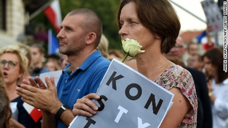 Thousands of protesters gathered in Warsaw on Sunday evening.