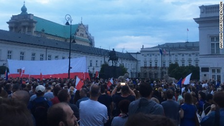 Protesters in front of the Presidential Palace in Warsaw on Sunday.