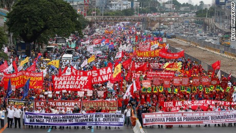 Thousands of protesters demand that Philippine President Rodrigo Duterte delivers on a wide range of promises he made in his first State of the Nation Address.