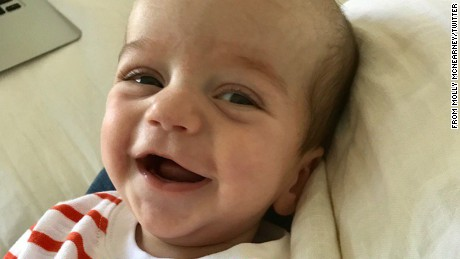 July 21: Jimmy Kimmel's wife Molly McNearney shares a photo of son Billy on Twitter.