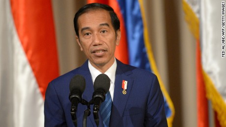 Indonesian President Joko Widodo speaks at Malacanang palace in Manila on April 28, ahead of ASEAN meeting.