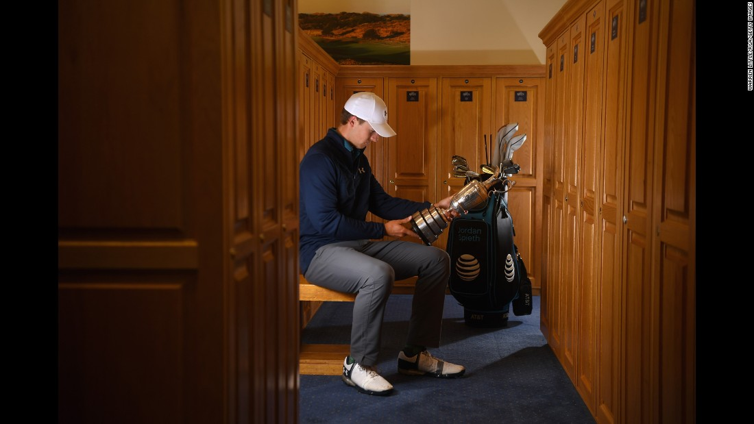 "Golfer Jordan Spieth looks at the Claret Jug after <a href=""http://www.cnn.com/2017/07/23/golf/british-open-2017-royal-birkdale-round-four-jordan-spieth-matt-kuchar/index.html"" target=""_blank"">winning the Open Championship</a> on Sunday, July 23. Spieth held off fellow American Matt Kuchar to win by three strokes at the Royal Birkdale Golf Club in Southport, England. It is the third major victory of his career. The 23-year-old only needs a PGA Championship to complete the career Grand Slam."