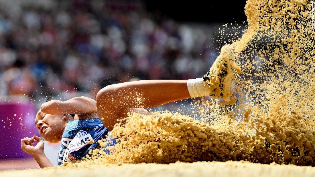 American long jumper Taleah Williams lands in the sand pit during the World Para Athletics Championships on Sunday, July 23. She finished first in the T47 competition.