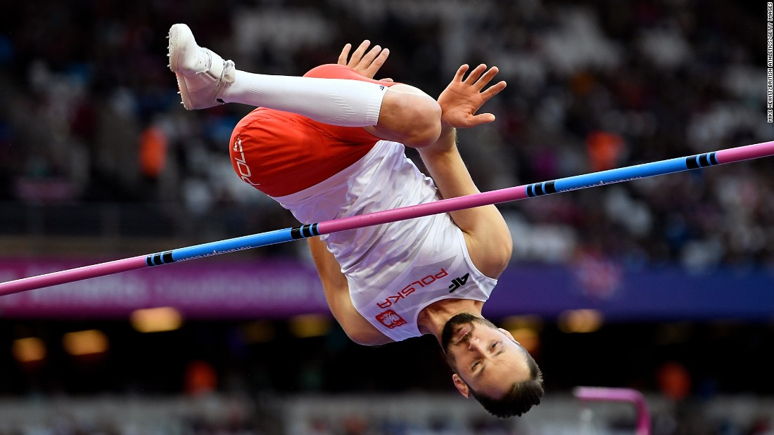 Polish Paralympian Lukasz Mamczarz competes in the T42 high jump at the World Para Athletics Championships on Saturday, July 22. He finished tied for fourth.